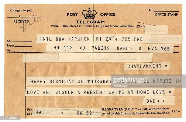 Old British birthday congratulations telegram