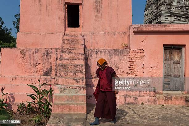 BODHGAYA BIHAR INDIA BODHGAYA BIHAR INDIA Old Buddhist monk near the Mahabodhi temple Bodhgaya Bihar India