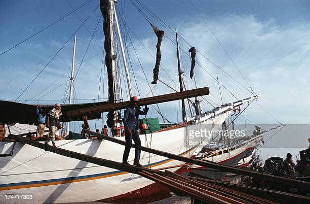 Old Buginese Makassar schooners moored at the harbour of Sunda Kelapa situated in the old Dutch part of Jakarta known as 'Little Amsterdam' Centuries...