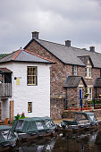Old building architecture in Brecon, town in Brecknockshire in Brecon Beacons in Wales of the United Kingdom.
