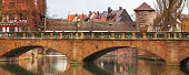 Panorama of old buildings and bridge over the river in Nuremberg, Bavaria
