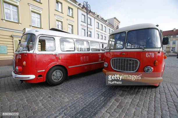 Old buses from the communist era also called cucumbers due to their shape are seen in the old center of the city on 19 August 2017 The renovated...