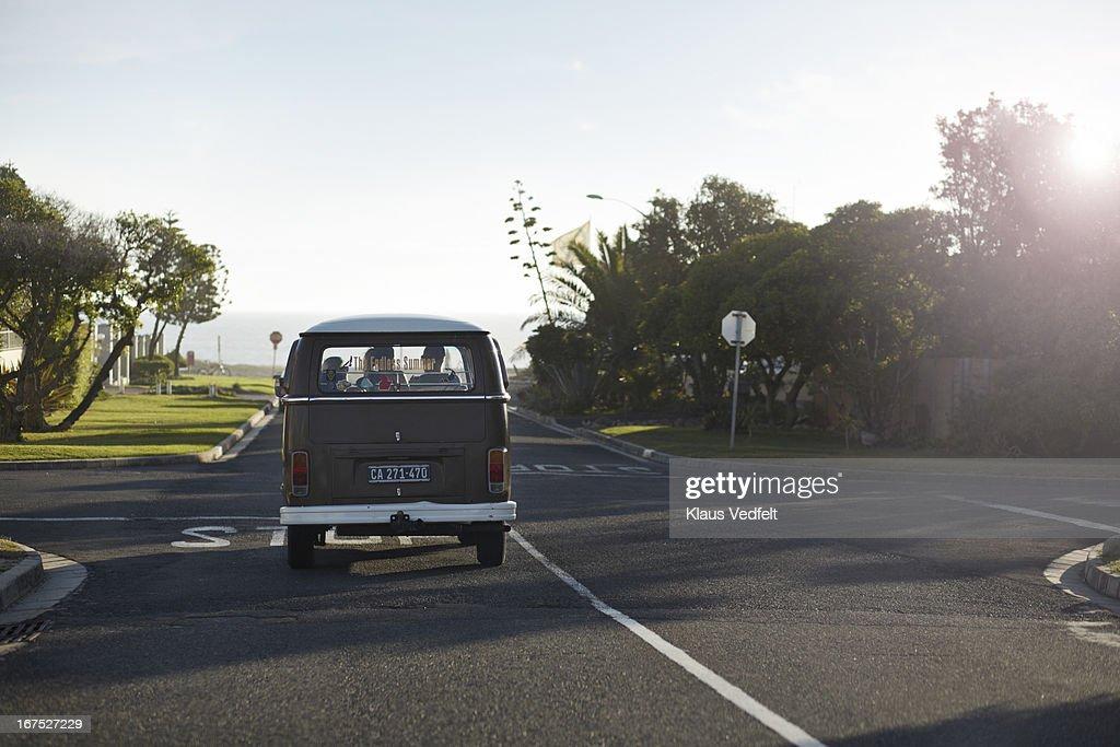 Old camper van at sunrise : Stock Photo