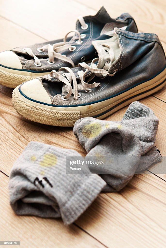 Alten Schuhe mit Socken. : Stock-Foto