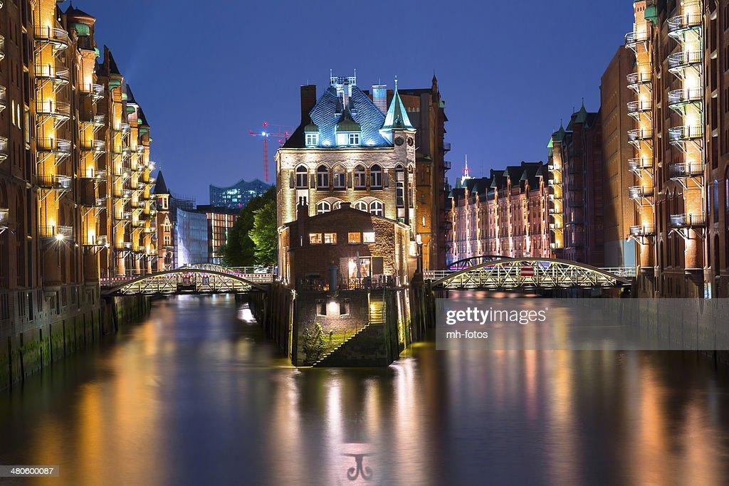Old castle in the Speicherstadt of Hamburg : Stock Photo