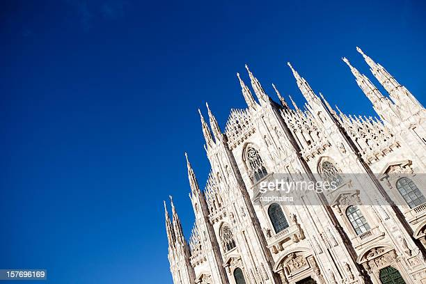Old cathedral in Milan from low angle on a clear sunny day