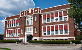 Stately, old, red brick school building built in the 1930`s.