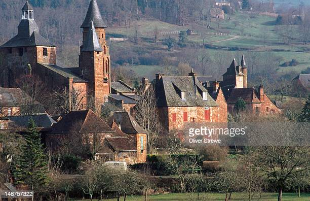 Old chateau and hillside farms.