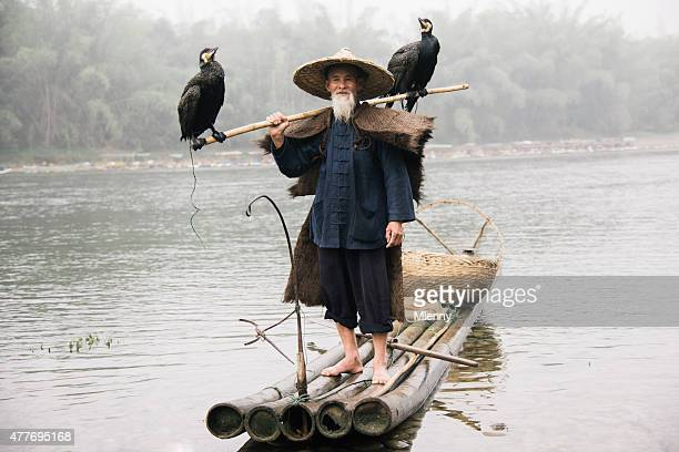 Old chinese fisherman on wooden raft together with grey herons