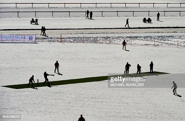 TOPSHOT Old Cholmeleians XI play against Lyceum Alpinum Cricket Club during the 30th Cricket on Ice tournament held on the frozen surface of the Lake...