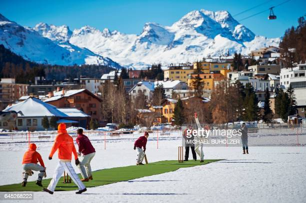 Old Cholmeleians XI play against Lyceum Alpinum Cricket Club during the 30th Cricket on Ice tournament held on the frozen surface of the Lake St...