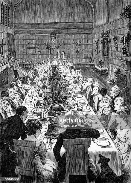 Christmas Dinner Caption 'Never did Christmas board display a more goodly and gracious assemblage of countenances' Illustrations designed by Randolph...