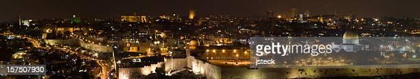 Panorama notturno della città vecchia di Gerusalemme