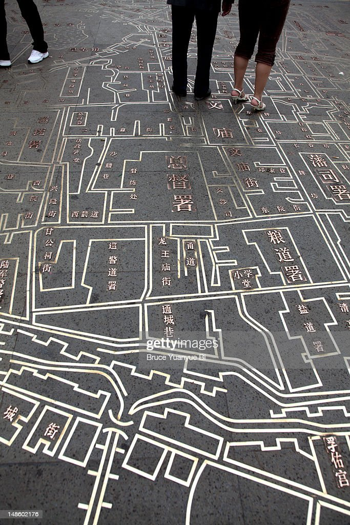 Old city map on Culture Pedestrian Street. : Stock Photo