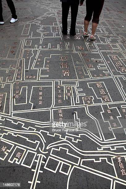 Old city map on Culture Pedestrian Street.