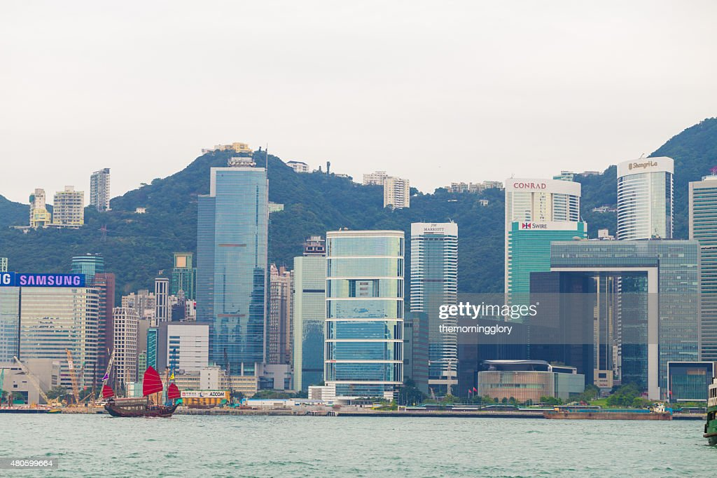 Old classic boat at  Victoria Harbour, Hongkong : Stock Photo