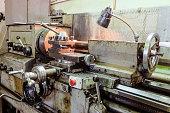 Old classic broom lathe. Metalworking.