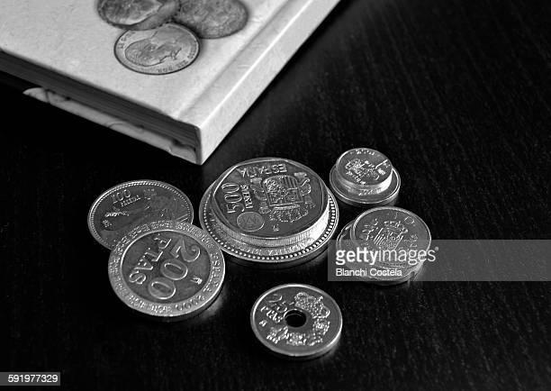 Old coins Spanish pesetas