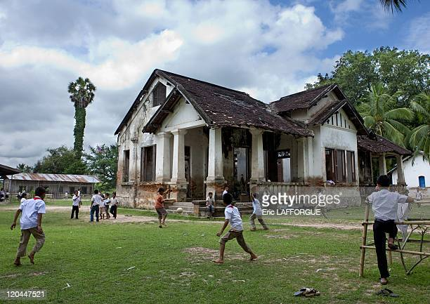 Old colonial school in Donkhon island Laos on April 27 2009