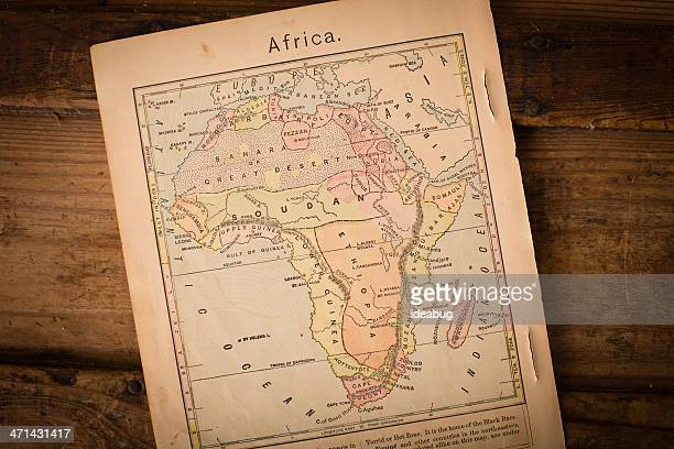1867, Old Color Map of Africa, on Wood Background