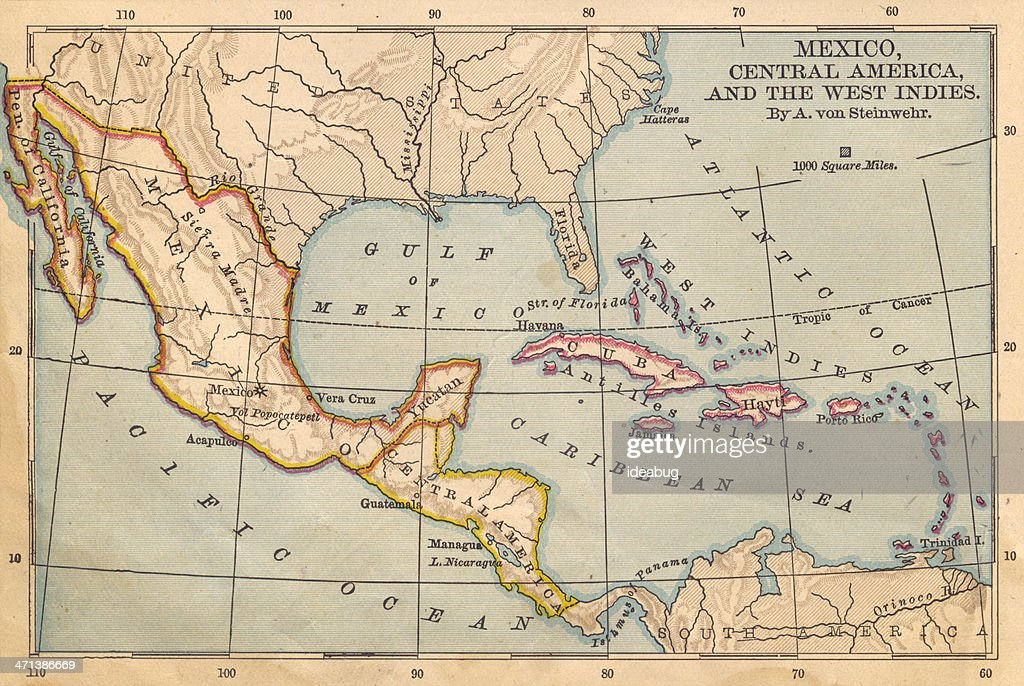 Old Color Map Of Mexico And Central America From S Stock Photo - Map of mexico and central america