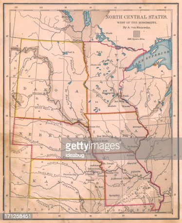 Old Color Map Of North Central States From S Stock Photo - 1800s us map