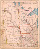 'Old, Color Map of North Central (United) States, From 1800's'