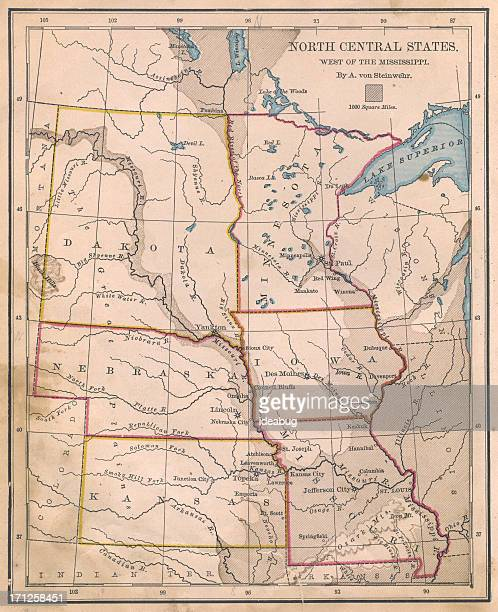 Old, Color Map of North Central (United) States, From 1800's