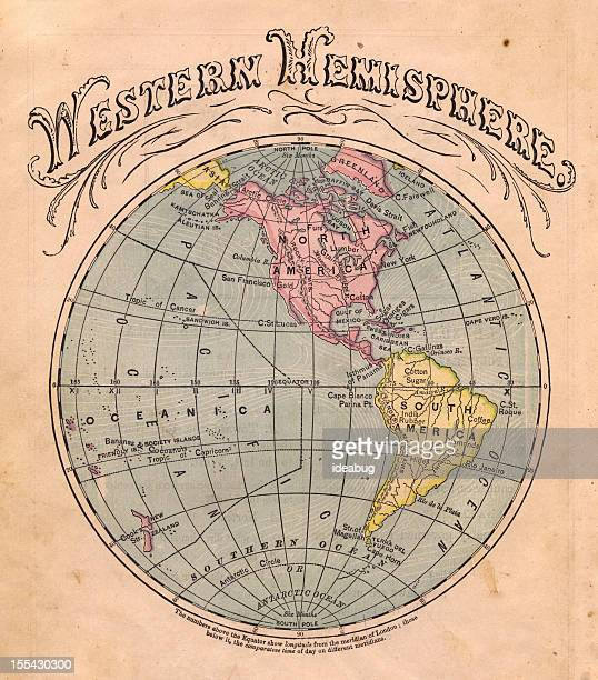 Old Color Map of the Western Hemisphere, From 1867