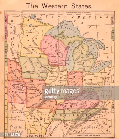 1867 、古い、カラーマップのオオバ United States