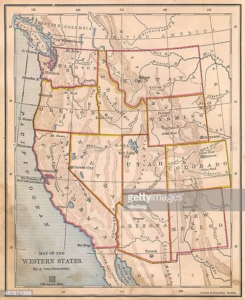 Old, Color Map of Western United States, From 1800's