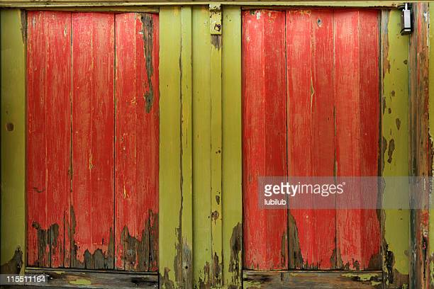 Old colorful wooden doors in red and yellow-green (XXXL)
