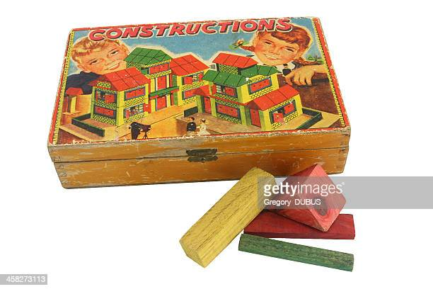 Old construction colored building blocks toy for children