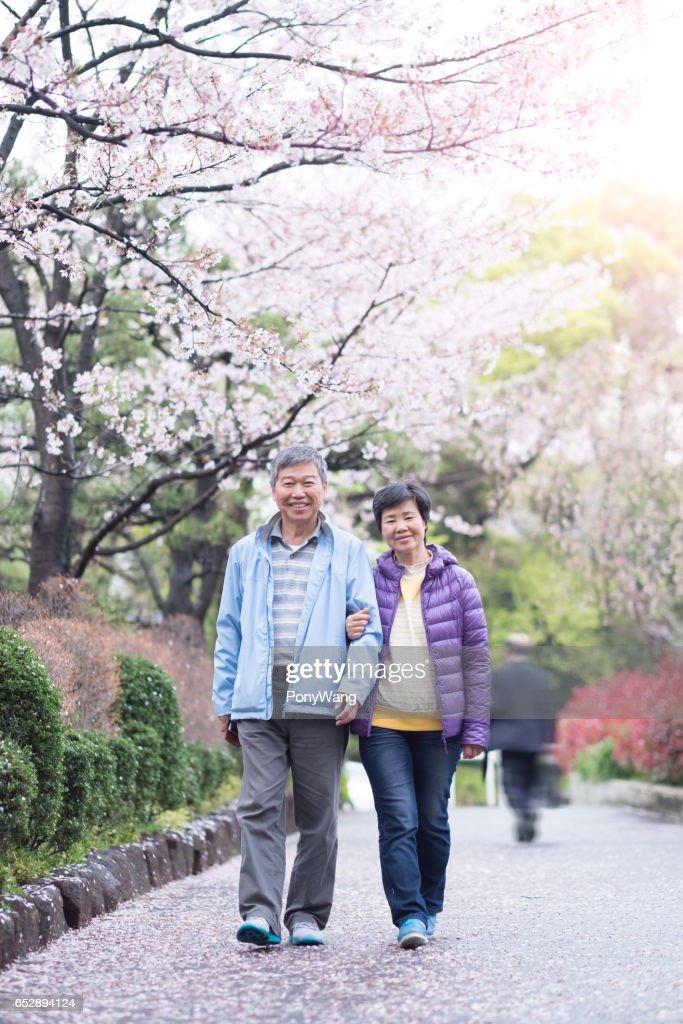 Vieux couple marche dans le parc : Photo