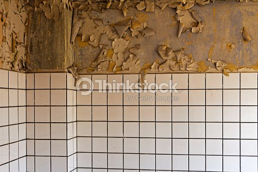 Old Ed Dilapidated Wall And Ceramic Tiles Stock Photo