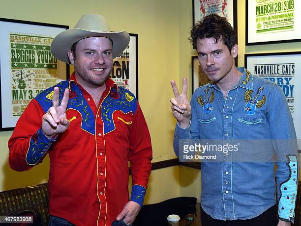 Old Crow Medicine Show's Ketch Secor And Critter Fuqua backstage at Songwriter Session For 'Dylan Cash And The Nashville Cats' Exhibition Opening...