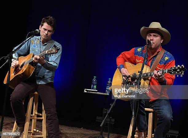 Old Crow Medicine Show's Ketch Secor And Critter Fuqua perform during Songwriter Session For 'Dylan Cash And The Nashville Cats' Exhibition Opening...