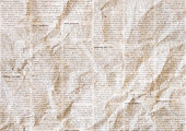 Old crumpled grunge newspaper paper texture background. Blurred vintage newspaper background. Crumpled paper textured page. Sepia color collage news paper background.