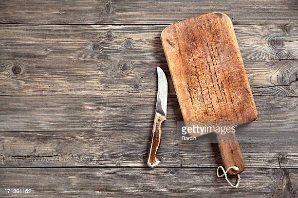 旧カティングボードおよびナイフ