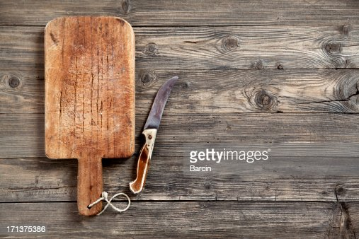 Old cutting board and knife