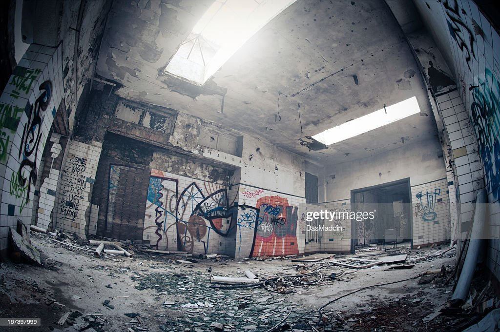 Old dark dirty abandoned ruin room with graffiti - HDR : Stock Photo