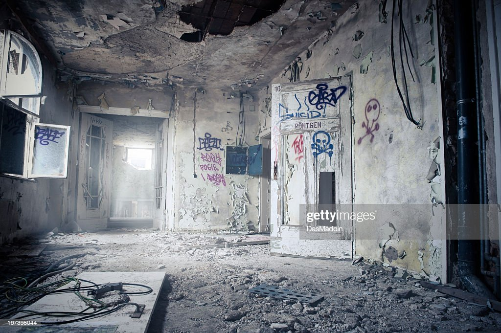 Old dark dirty ruin room with graffiti - HDR : Stock Photo