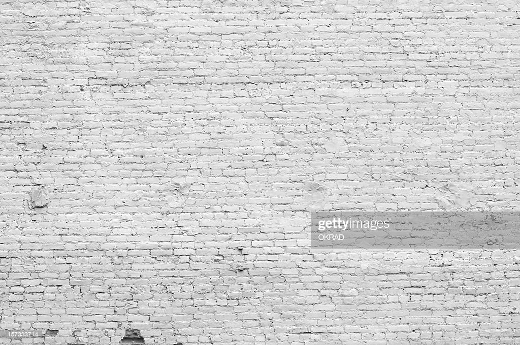 Old distressed white brick wall : Stock Photo