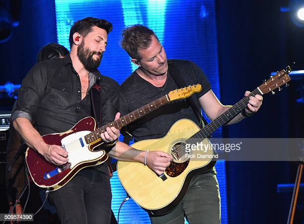 Old Dominion's Matthew Ramsey and Brad Tursi performs at CRS New Faces during CRS 2016 Day 3 at The Omni Hotel on February 10 2016 in Nashville...