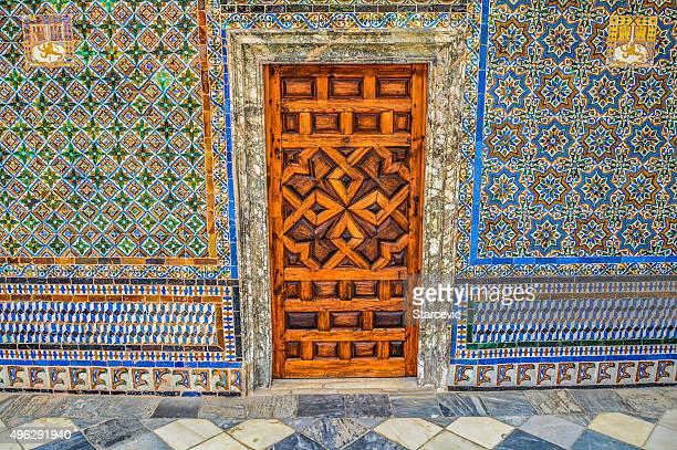 Old door and exquisite tile work