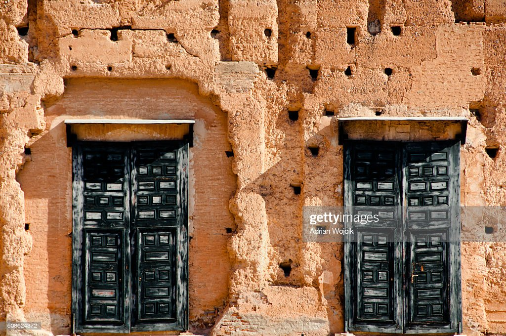 Old Doors in El Badi Palace - Marrakesh - Morocco : Stock Photo