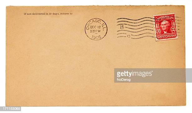 Old envelope com 1906 Chicago Marca Postal e Dois Cêntimos Carimbo
