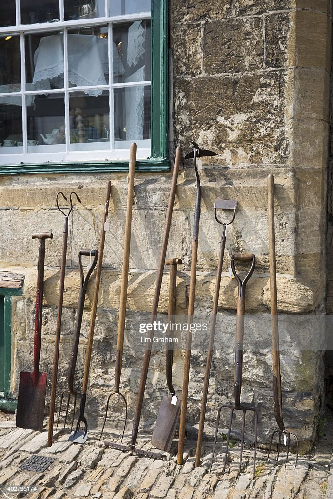 Elegant Old Farming And Gardening Implements, Garden Tools At Antique Shop In  Burford High Street ,