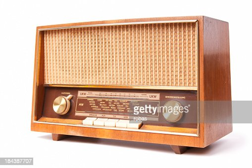 Old fashion radio on a white background