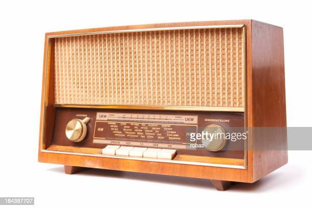 Old fashion radio on a white background